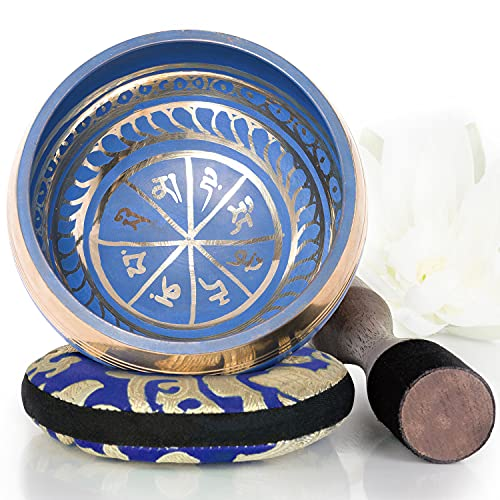 Silent Mind ~ Tibetan Singing Bowl Set ~ Blue Color Design ~ Great For Mindfulness Meditation, Relaxation, Stress &Amp; Anxiety Relief, Chakra Healing, Yoga, Zen ~ Perfect Spiritual Gift