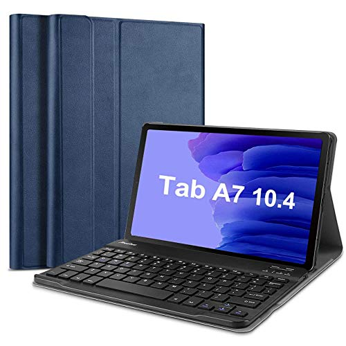 """QYiD Keyboard Case for Galaxy Tab A7 10.4"""" 2020 (SM-T500/SM-T505), Slim Lightweight Leather Stand Cover with Magnetically Detachable Wireless Keyboard for Samsung Galaxy Tab A7 10.4' Tablet, Blue"""