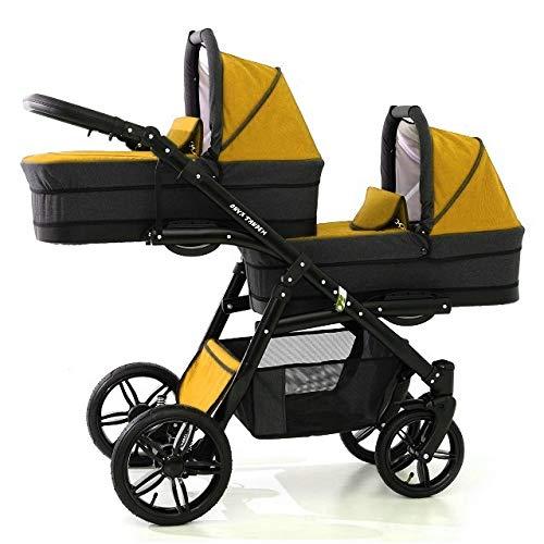 Carro gemelar 3en1 BBtwin Onyx Tandem desde nacimiento hasta los 3 años cochecito doble trio (amarillo)
