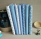 7 piezas/Set Tela algodon Telas Patchwork Tejido de Costura, Retales Tela para coser, Telas decorativas Costura y Manualidades por Metros (25 * 25cm, Azul claro)