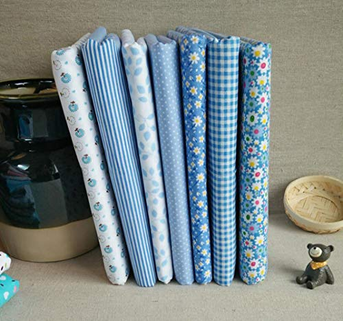 7 piezas/Set Tela algodon Telas Patchwork Tejido de Costura, Retales Tela para coser, Telas decorativas Costura y Manualidades por Metros (50 * 50cm, Azul claro)