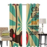 hengshu Vintage Sliding Door Curtains for Living Room Segway Electric Scooter Icon on Foreground of Pop Art Style Stripe Urban Transport Room Darkening Curtains Room Decor W52 x L84 Inch Multicolor