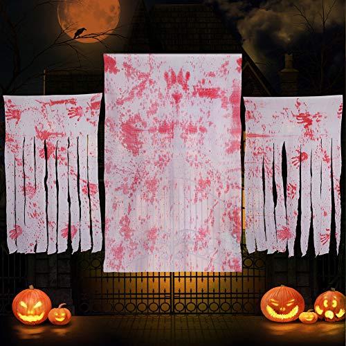 Decoraciones de Halloween Paño Tela de Halloween mantel- 2 cortinas de entrada de Halloween + 1 cubierta de mesa gigante para la decoración de la fiesta de Halloween para exteriores