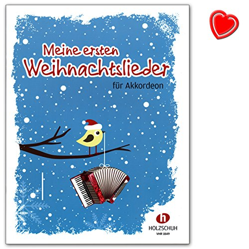 Meine ersten Weihnachtslieder - 22 Weihnachtslieder für den Anfangsunterricht ( Akkordeon ) - Autor: Ralf Stock - Notenbuch mit bunter herzförmiger Notenklammer