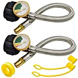 """2 Pack 15inch 1/4"""" NPT RV Propane Pigtail Hose with Gauge and Stainless Steel Braided Ho..."""