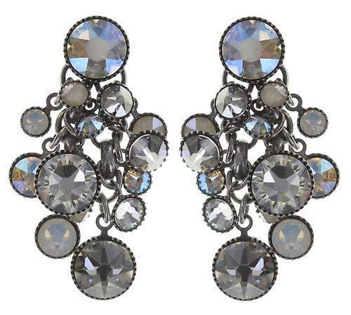 KONPLOTT Waterfalls Ohrstecker für Damen   Exklusive Designer-Ohrringe mit 28 Swarovski Steinen   Glamouröser Ohrschmuck passend zu jedem Anlass   Handgefertigter Damen-Schmuck   Weiß/Grau