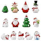 Sopcone 13 Stück Feengarten Weihnachten Miniatur-Ornamente, Mini Harz Xmas Thema Figuren...