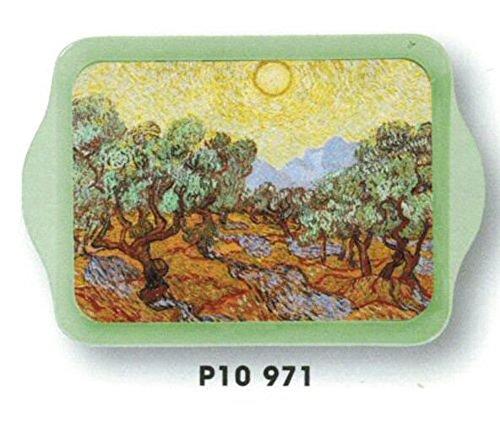 MINI PLATEAU METAL VIDE POCHE 14X21cm PEINTURE VINCENT VAN GOGH LES OLIVIERS