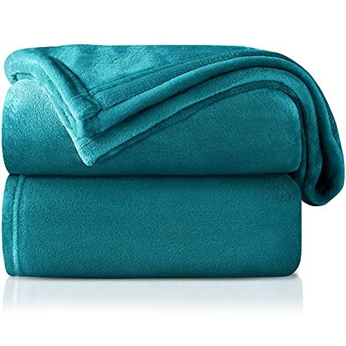 Mantas para Sofa Verde Azulado 130 × 150 cm, RATEL Mantas para Cama de Franela Reversible, Mantas Ligeras de 100% Microfibra...