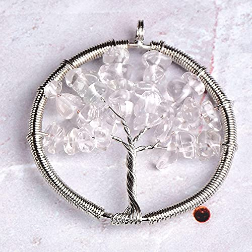 1PC Natural Stone Crystal Tree Of Life Pendant Colourful Mineral Jewelry Rose Quartz for Men Women Jewelry Chakra Gift-Rock Crystal Quartz
