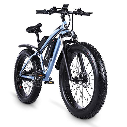 Shengmilo MX02S 48V 1000W Elektrofahrrad Elektrisches Mountainbike 26 Zoll Fettreifen E-Bike 21-Gang Beach Cruiser Herren Sport Mountainbike Lithiumbatterie Batterie Scheibenbremsen