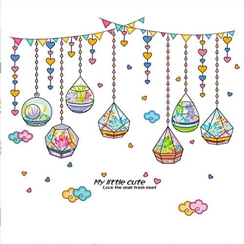 Muursticker muurschildering sticker romantische kristallen fles hangen gordijn wanddecoratie sticker zelfklevende etiketten voor de kinderkamer achtergrond slaapkamermuursticker kamer