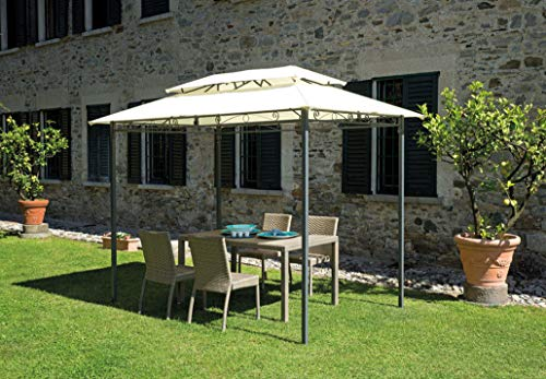 gazebo da giardino in ferro GAZ360 Gazebo da giaridno in ferro con tetto ecrù 180gr (3X2)