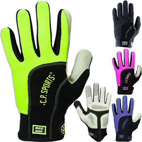 Fitness Handschuhe Maxi - Grip, Fitnesshandschuhe, Trainingshandschuhe, Bodybuilding Handschuhe Vollfinger, C.P. Sports (L, Neongelb)