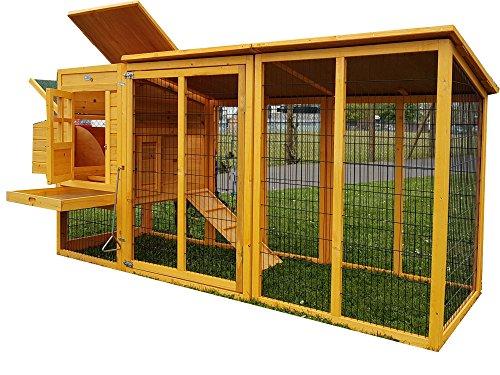 Hühnerstall Hühnerhaus Eggshell Buckingham Hühnerstall mit Laufgehege, schützt vor Füchsen, tragbar, geschweißter/beschichteter 3-mm-Draht, mit Nistkasten, für 2-4 Hühner, Größe XXL, 244 cm - 4