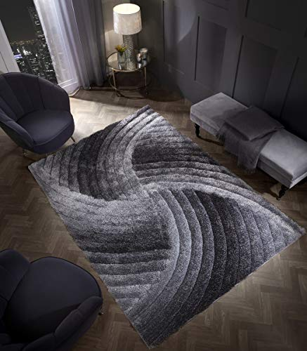 3D SWIRL HEAVYWEIGHT CARVED Shaggy Rug GREY SILVER Ombre Super Plush Extra Large Rugs Living Room with SHIMMERING SPARKLE STRANDS Thick Pile Height Modern Area Rugs (160cm x 230cm (5.5ft x 7.5ft))