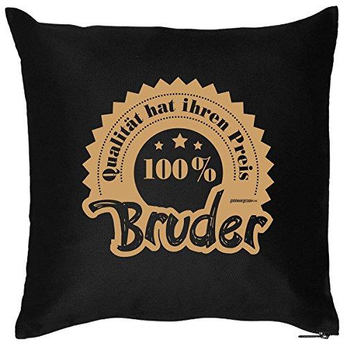 Tolles Kuschelkissen mit Aufdruck für den Coolen Bruder - Lustiges Kissen - Dekokissen - 100 Prozent Bruder /Goodman Design