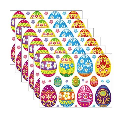 Amosfun 8 Fogli Adesivi Murali Uovo di Pasqua Uova di Cartone Animato Vetrofanie Decalcomania di...