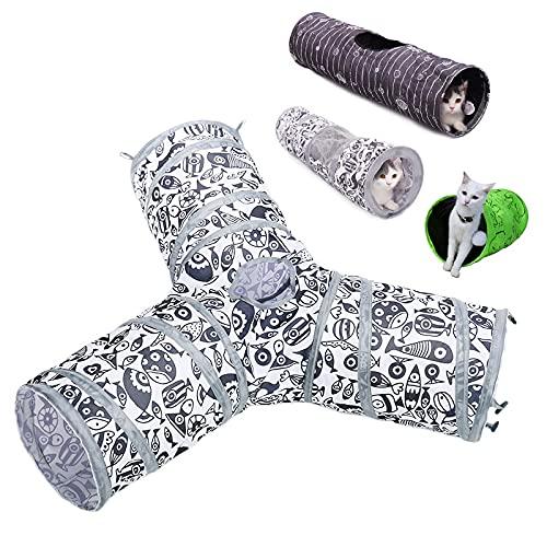 PPuujia Juguete para gatos con 2/3 agujeros, juguetes para túneles para mascotas y gatos, diseño de gato con bola divertido túnel para mascotas (color: AJD0020BN, tamaño: M)