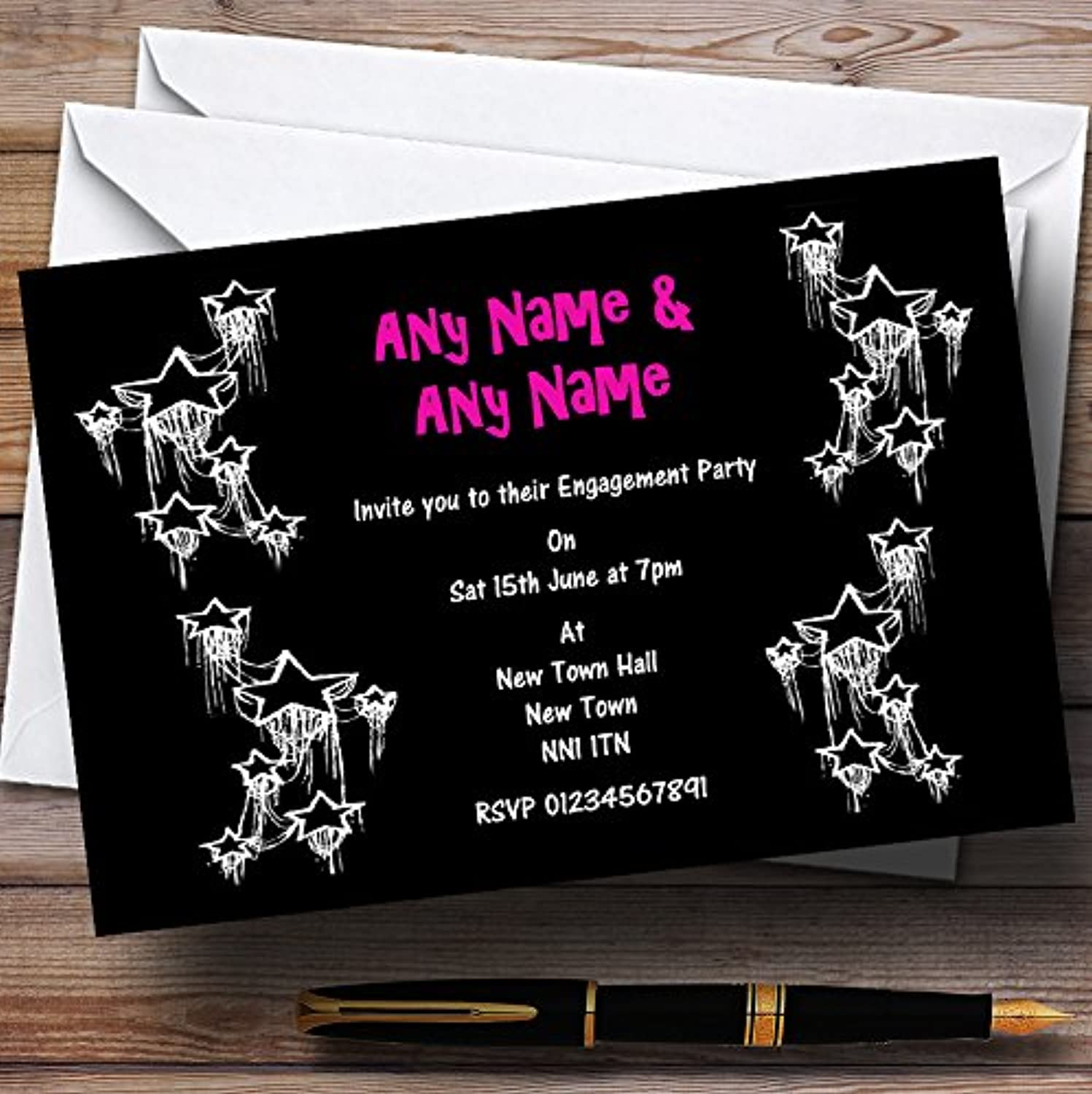 Black Hot Pink White Engagement Party Personalised Invitations   Invites & Envelopes