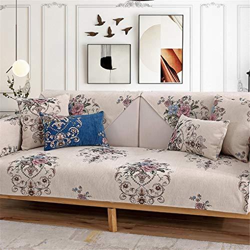 OMGPFR Estilo Europeo Cojín de sofá Combinado, Protector Clásico Noble Minimalismo Agradable para la Piel Antideslizante Lavable en la Lavadora para Sala Dormitorio 90 * 210 CM,Beige,90 * 70