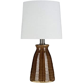 """Amazon Brand – Stone & Beam Table Lamp with Textured Ceramic Base, Bulb Included, 15""""H, Crackle Brown"""