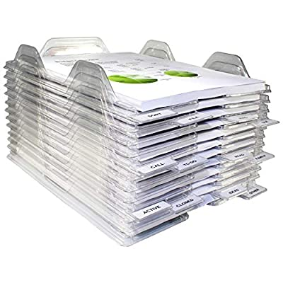 EZSTAX File Organizers - Letter Size, Stackable Trays for Desk - for Office Files, Mail, Documents