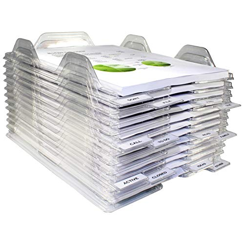 EZSTAX File Organizers - Letter Size Stackable Trays for Desk - for Office Files Mail Documents - 24 Pack