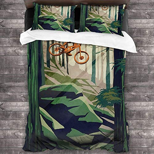 My Therapy- Mountain Bike 3-Piece Bedding Set 86'X70' Super Soft Warm Duvet Cover, Queen Bedding Set with 2 Pillow Cover