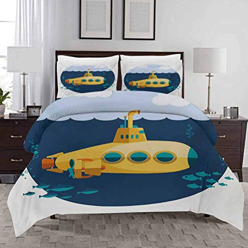 HouseLook Bedding Duvet Cover Set Yellow Submarine Toddler Bedding Sets Illustration of a Submarine Under The Sea Fish and Clouds Decorative 3 Piece Bedding Set with 2 Pillow Shams Full Size