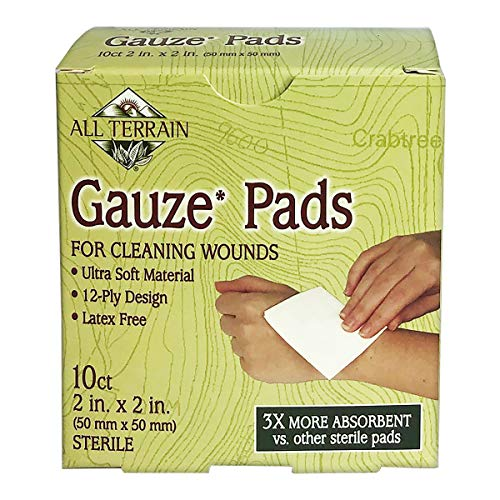 All Terrain Latex-Free Gauze Pads, Minor Wound Care & First Aid, Cleaning, Dressing & Bandaging, Soft, Absorbent, Sterile, 2 x 2-Inch, 10ct