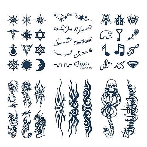 Konsait 6 Blätter temporär Tätowierung schwarz Tattoo Körperkunst Aufkleber Fake Arm Tattoos Sticker für männer Frauen, 15 Tage lang anhaltend