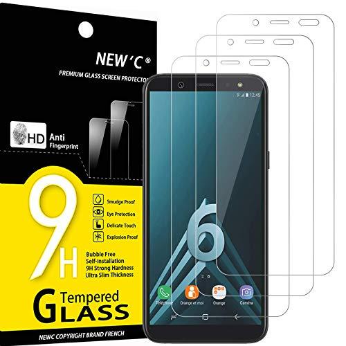NEW'C Protector de Pantalla para Samsung Galaxy A6 (SM-A600F), Antiarañazos, Antihuellas, Sin Burbujas, Dureza 9H, 0.33 mm Ultra Transparente, Vidrio Templado Ultra Resistente