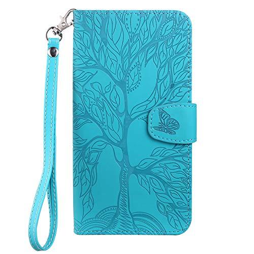 Aisenth - Funda para iPhone 7/iPhone 8/iPhone SE 2020, diseño de árbol, piel, cartera, con tarjetero, función atril, color azul y verde