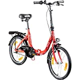 AGON Klappfahrrad 20 Zoll Faltrad Klapprad Fahrrad Cruiser 20' StVZO Beleuchtung (rot)