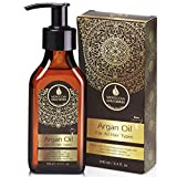 Moroccan Gold Series Argan Oil – Made with Organic Pure Argan Oil of Morocco Enriched with Keratin – Revitalizing Hair Oil for Curly Frizzy Hair, Dry Damaged Hair and Growth, 3.4oz