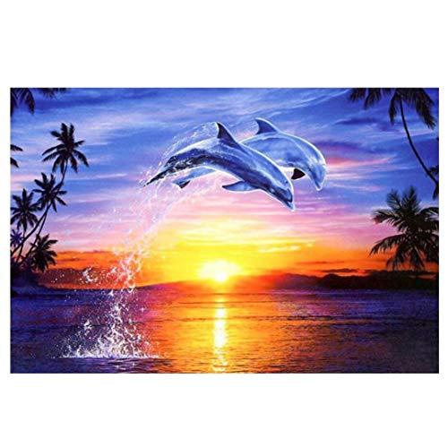 Ukerdo Dolphin Bilder Sonnenuntergang DIY Diamant Gemälde Satz Voll Bohren für Haushalt Mauer Kunst Dekoration