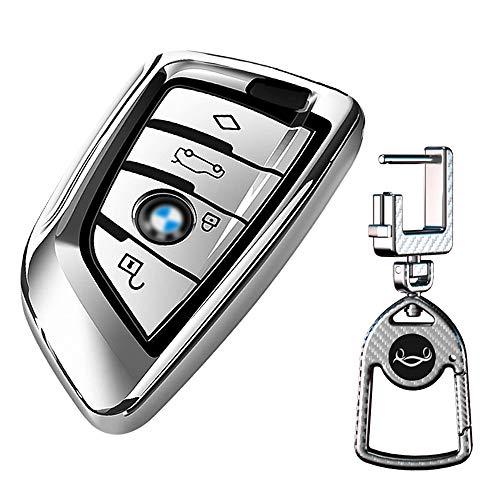 Autoschlüssel Hülle kompatibel mit BMW - TPU Schutzhülle Schlüsselhülle Cover Prämie Weiches für BMW X1 X2 X3 X5 X6 and 5 Serie 2018 7 Serie 2017 up 2 Seris and 6 Serie Smart Remote