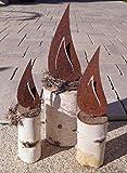 Unbekannt 3 Flammen mit Schraubgewinde Edelrost Metall Garten Kerze Advent Selbstgestaltung - 3 Größen im Set