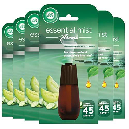 Airwick Air Wick Essential Mist - Recambio de vaporizador, madreselva y pepino, Pack de 6 x 20 ml