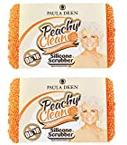 Paula Deen Peachy Clean Sponge Pack of 2! Peach Scented Kitchen and Dish Scrubber! Long Lasting and Antimicrobial Silicone Sponge! Choose Your Silicone Scrubber! (2 Gourmet Edition)