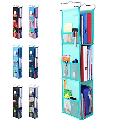 "3 Shelf Hanging Locker Organizer – Upgraded | LockerMax by Abra Company | Pockets on Both Sides | 22-38"" Tall 