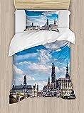 Cityscape - Juego de funda de edredón (2 piezas, con 1 funda de almohada), diseño de arquitectura alemana, color gris y azul