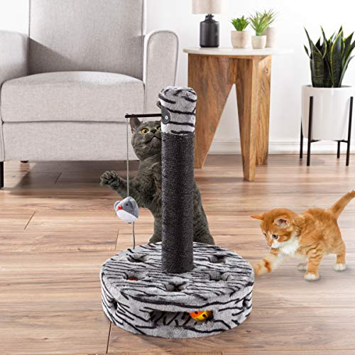 PETMAKER Interactive Cat Scratching Post- Built-in Rolling Ball & Track Toy,...
