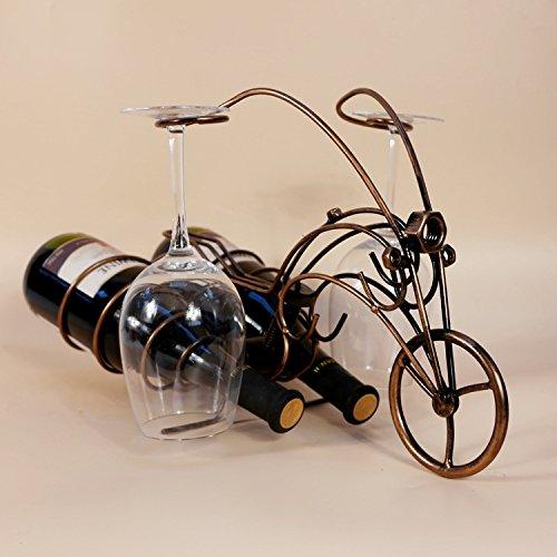 Diable moto artisanat vin char crémaillère pendaison porte-gobelet à double métal ornements cadeaux créatifs , ancient red copper