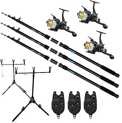 Juego de 3cañas de pescar para carpas, 3,60m, incluye 3bobinas y 3indicadores de picada y trípode