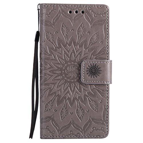 Karomenic kompatibel mit Huawei P8 Lite PU Leder Hülle Prägung Sonnenblume Muster Handyhülle Brieftasche Silikon Schutzhülle Klapphülle Magnet Ledertasche Wallet Flip Case Etui,Grau