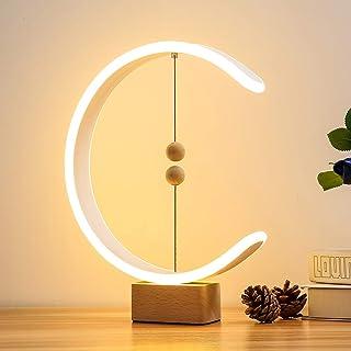 Lámpara De Mesa De Madera Moderna, Lámpara De Equilibrio Heng Alimentada Por USB Con Interruptor De Bolas Flotantes Magnéticas, Luz LED De Cuidado Ocular Cálido, Lámpara De Noche De Dormitorio