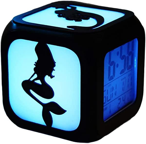 Child Alarm Clock For Mermaid Silent Theme Temperature Date Display LED Night Light Alarm Clock Square Bedside Clock Creative Gift