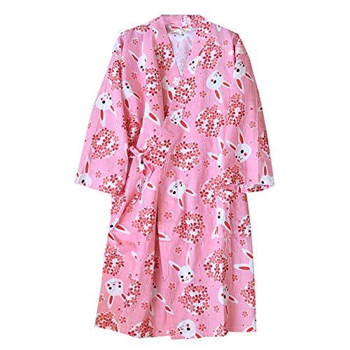 Kimono Robe Yukata del Albornoz de Las Mujeres Pijamas [Pink Bow]